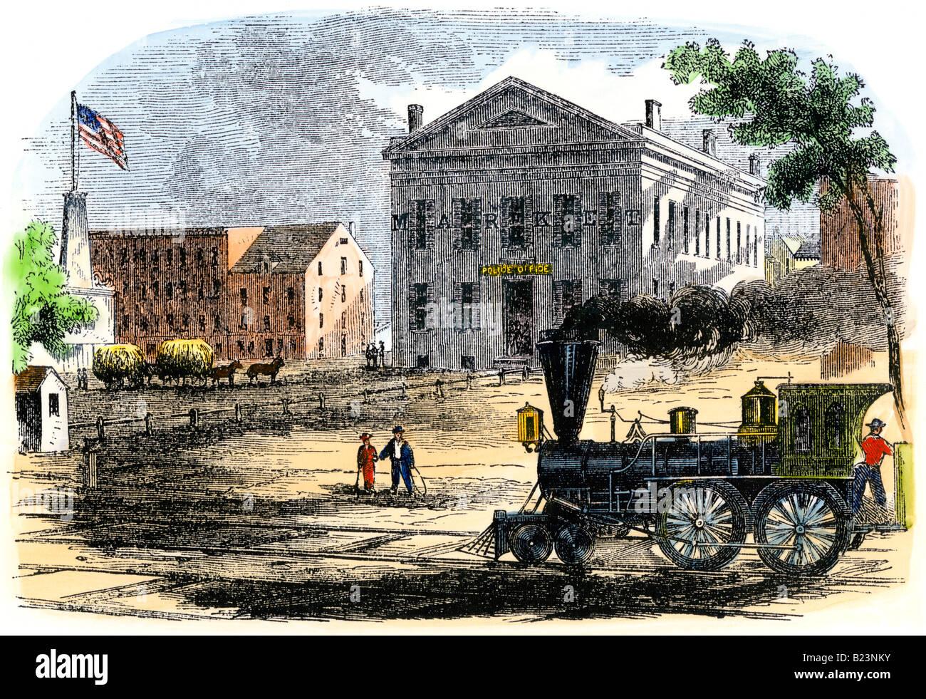 Steam locomotive in Syracuse New York 1850s - Stock Image