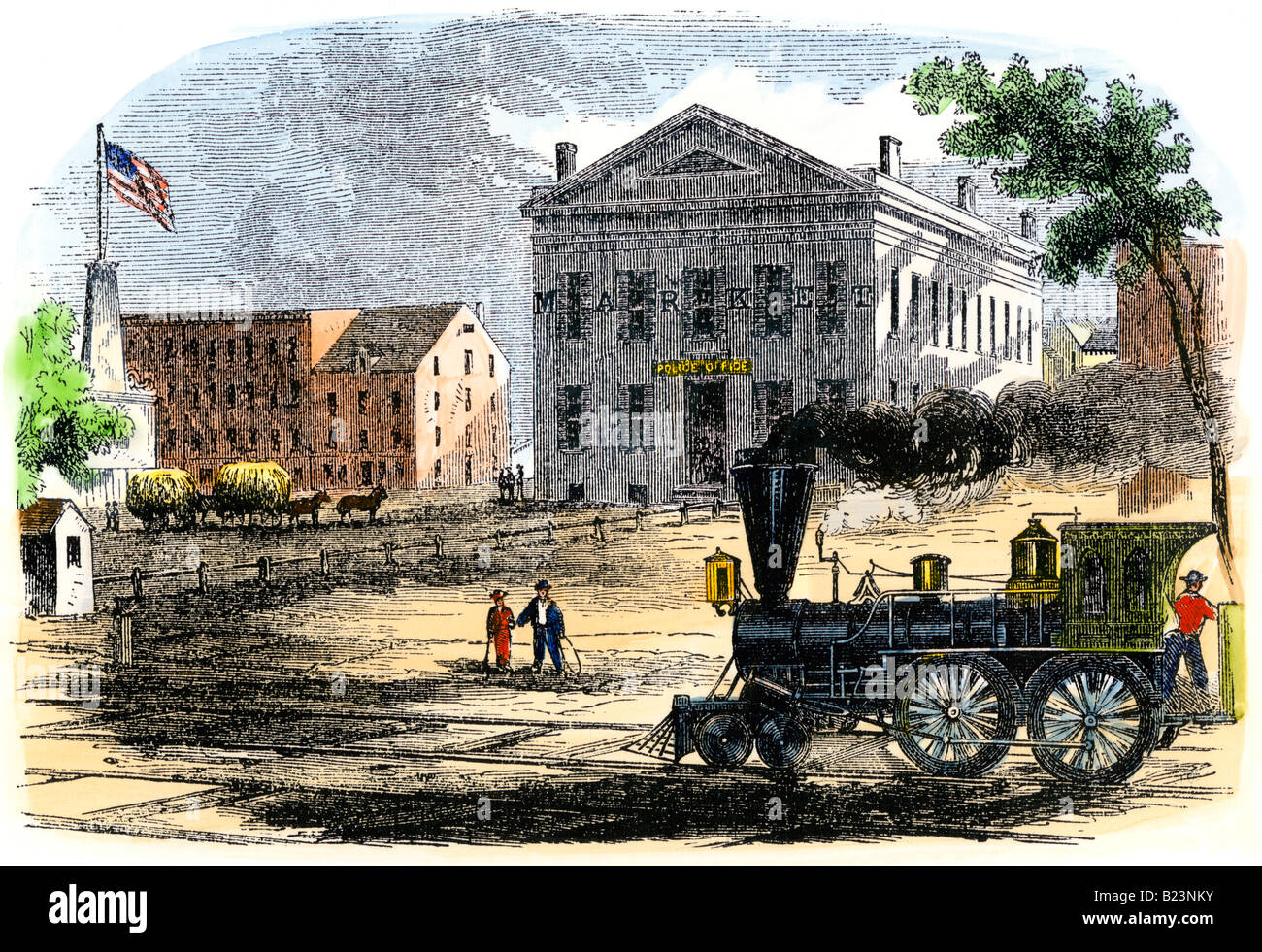 Steam locomotive in Syracuse New York 1850s. Hand-colored woodcut - Stock Image