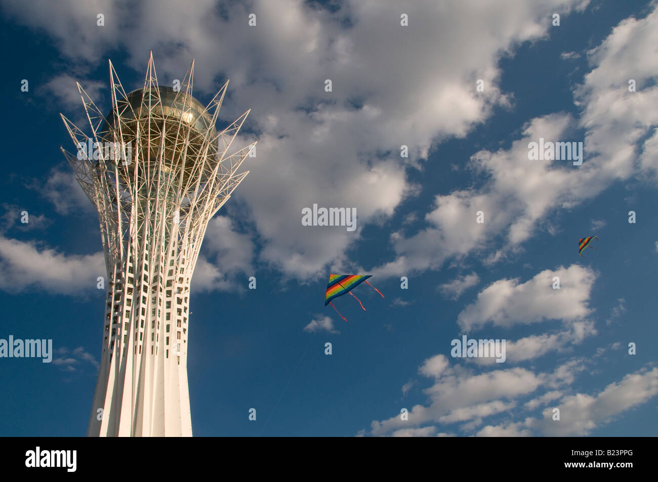 View of Bayterek a monument and observation tower in Astana capital of Kazakhstan - Stock Image