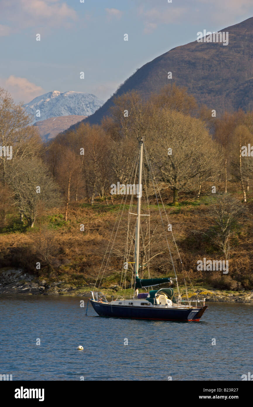 Looking across Loch Leven to Glencoe from North Ballachulish Bishop s Bay boats Highland Region Scotland April 2008 - Stock Image