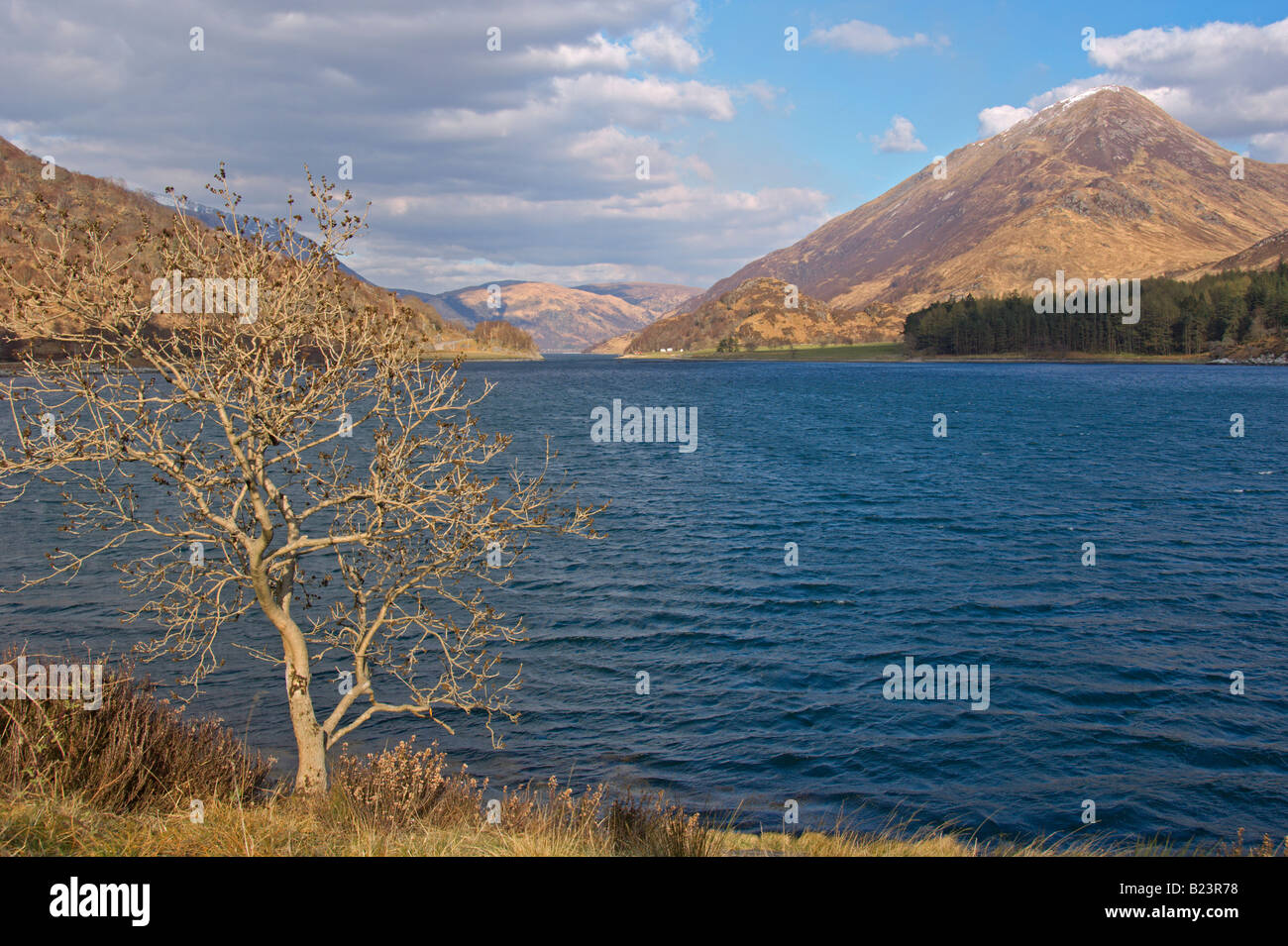 Looking east up Loch Leven from near Glencoe Highland Region Scotland April 2008 - Stock Image