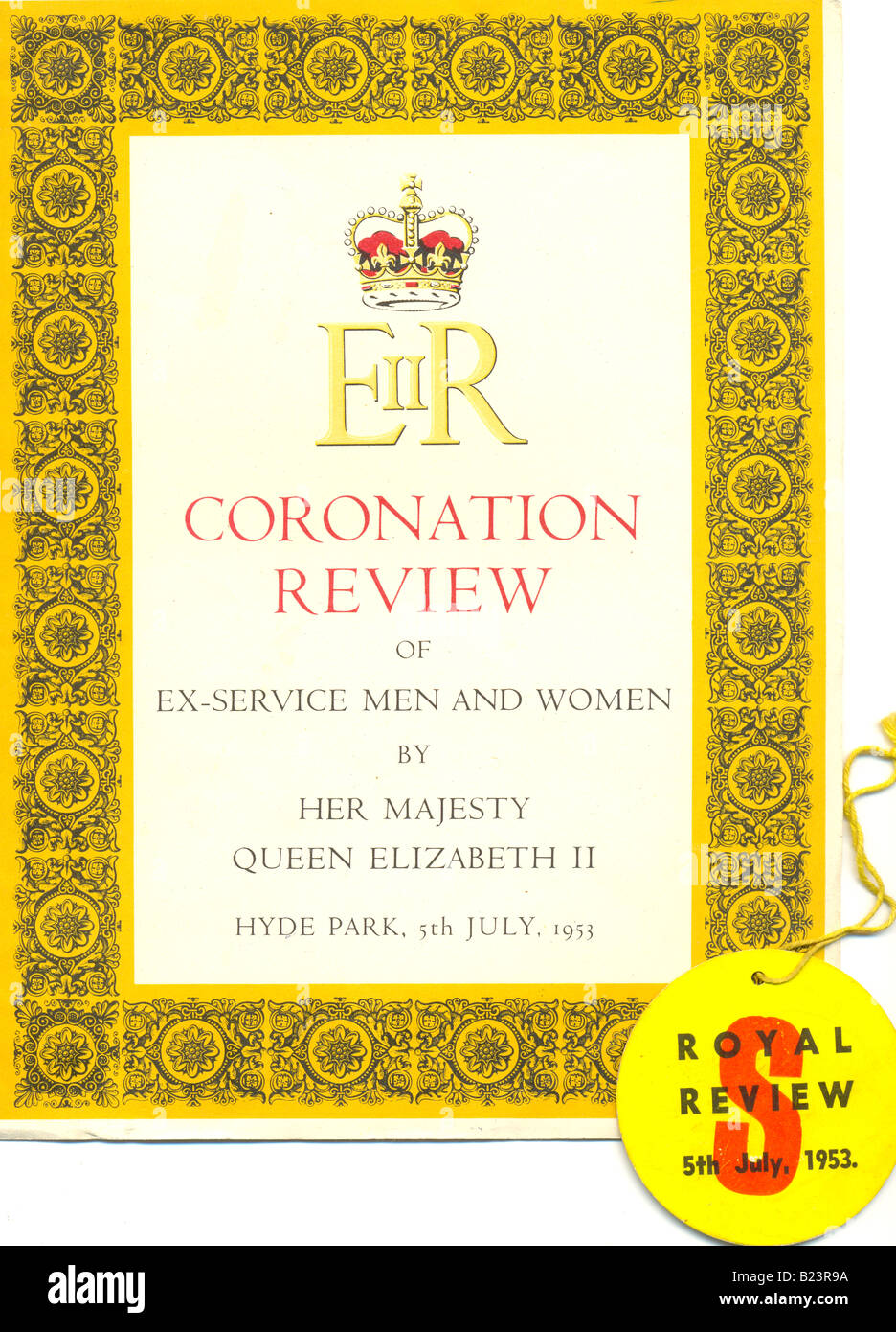 Programme and badge for the Coronation Review for Queen Elizabeth II - Stock Image