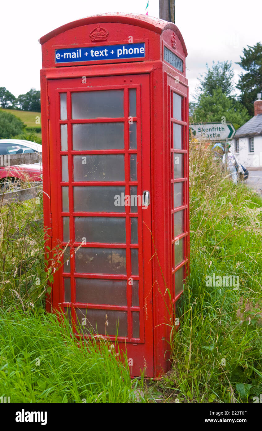 Red public phone box at Skenfrith Monmouthshire Wales UK EU - Stock Image