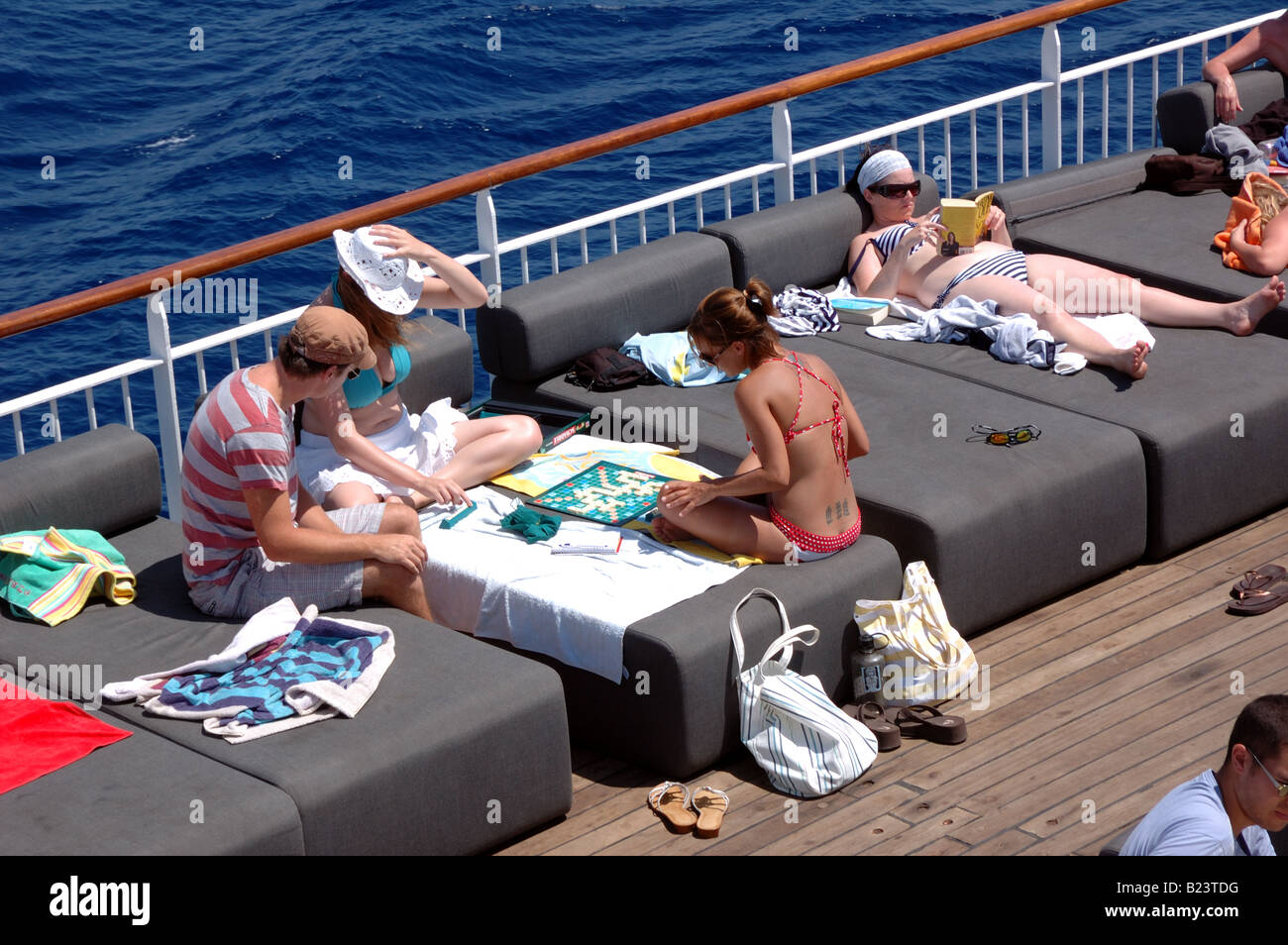 Passengers On Budget Cruise Ship Easycruise Life Relaxing On The Sun Stock Photo 18524732 Alamy