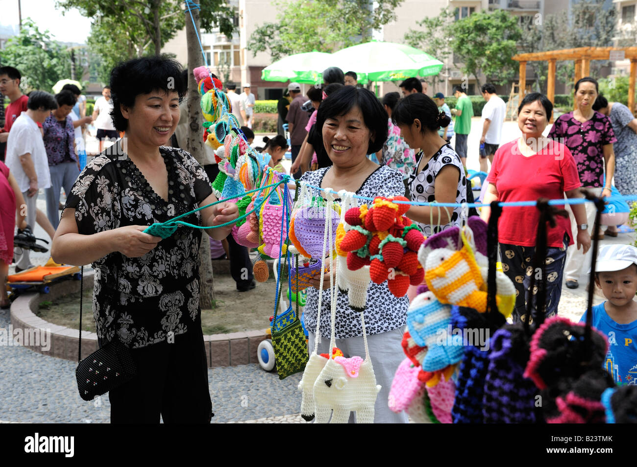 Flea market on Sunday in a community in Beijing, China. 13-Jul-2008 - Stock Image