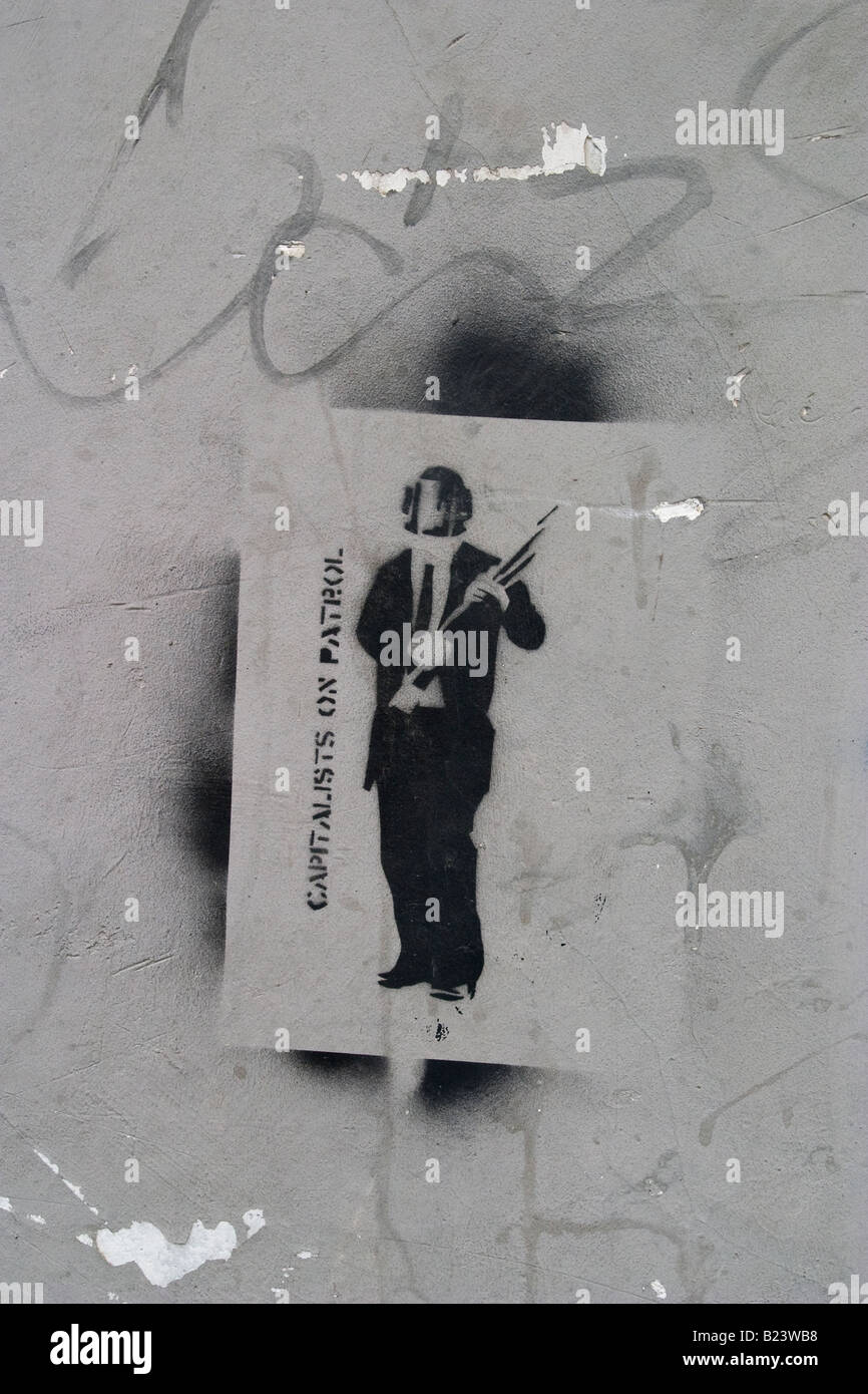 Anti-capitalist stencil art - Stock Image