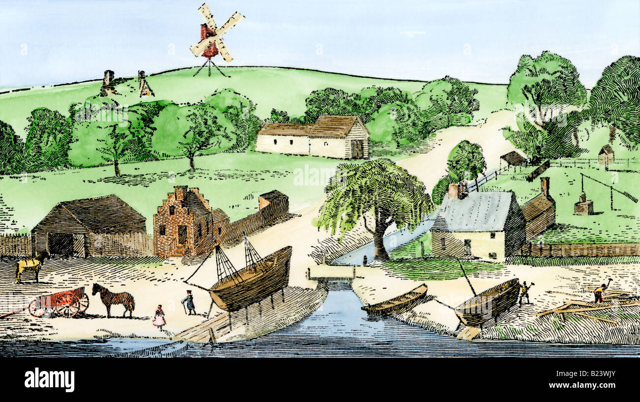 Smiths Valley with a Dutch blacksmith shop farm and shipyard on Manhattan Island 1600s. Hand-colored woodcut - Stock Image