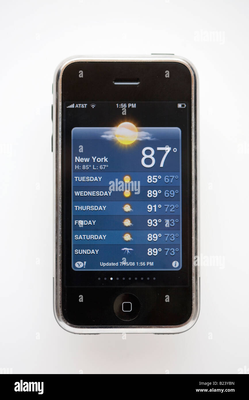 Iphone showing weather in New York - Stock Image