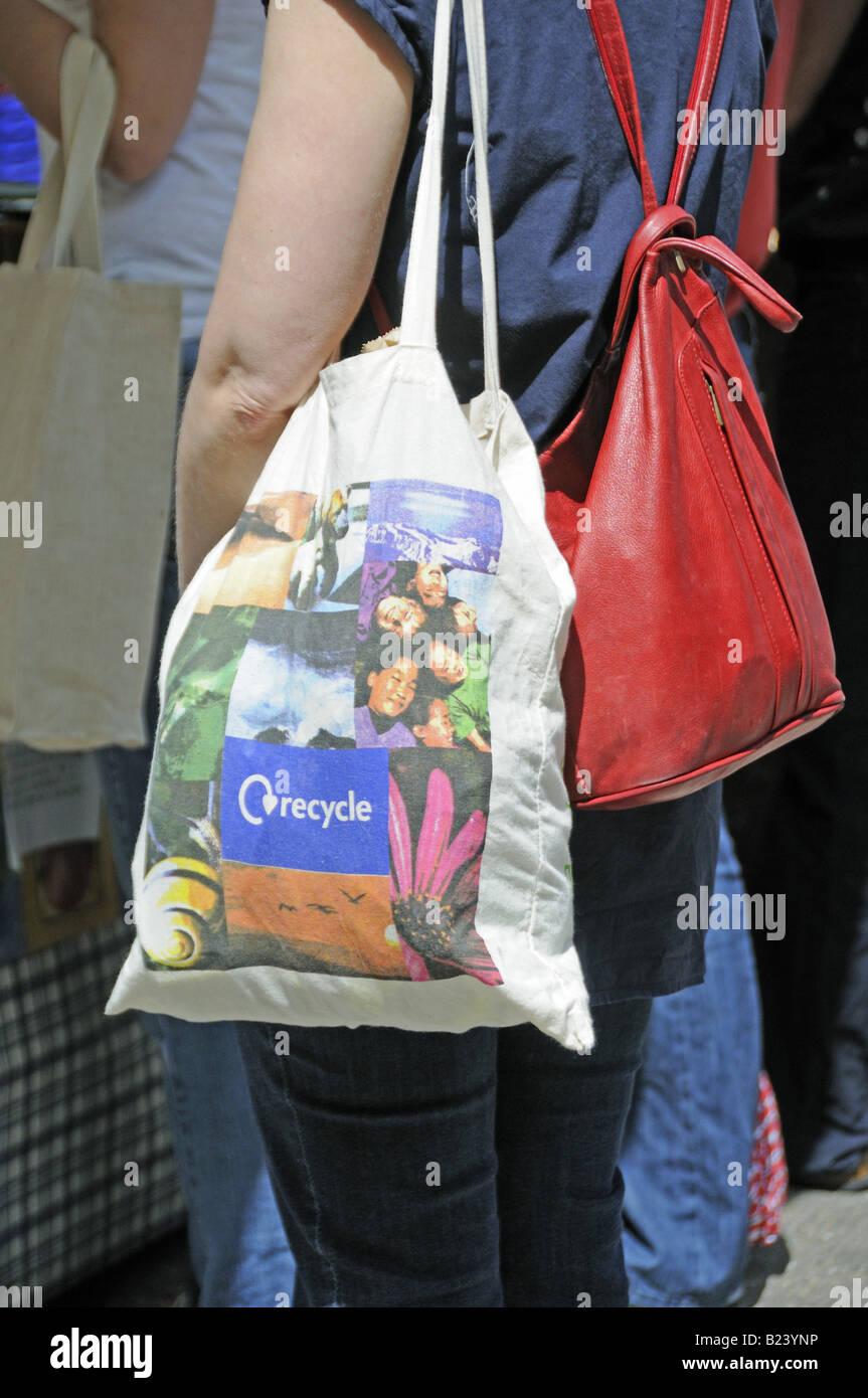 Reusable cotton bag Islington Farmers Market London England UK - Stock Image