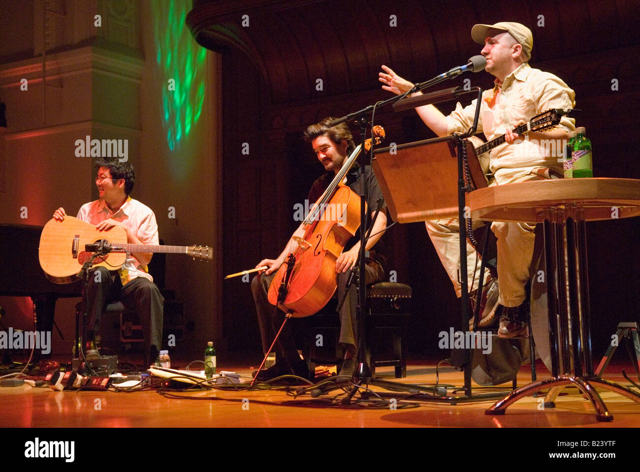 The Magnetic Fields, with Stephin Merritt on the right,  performing at The Cadogan Hall, London, 10th July 2008 - Stock Image
