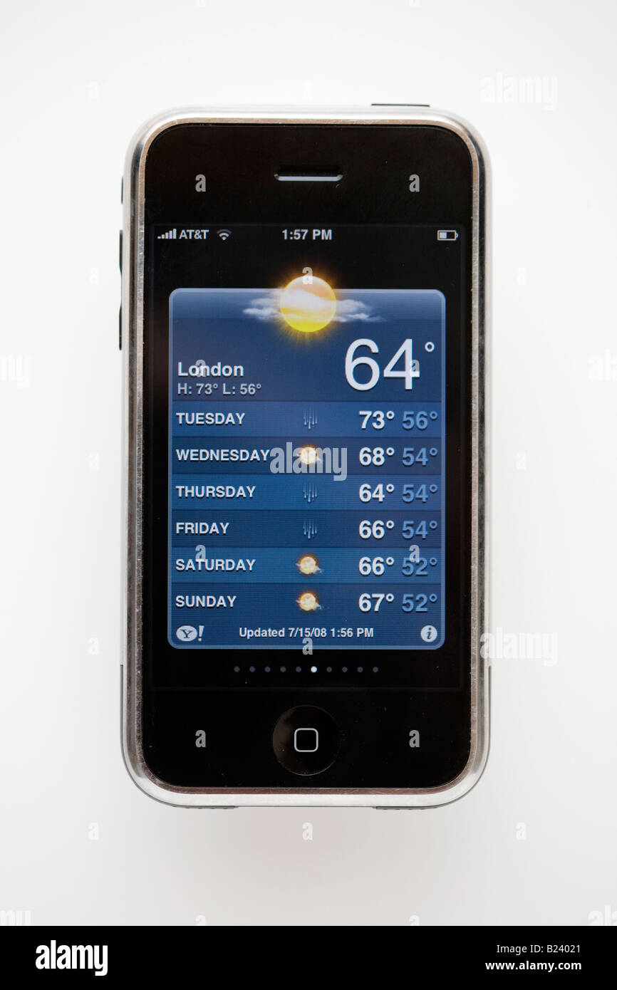 iphone displays weather in London temperature 64 degrees F - Stock Image