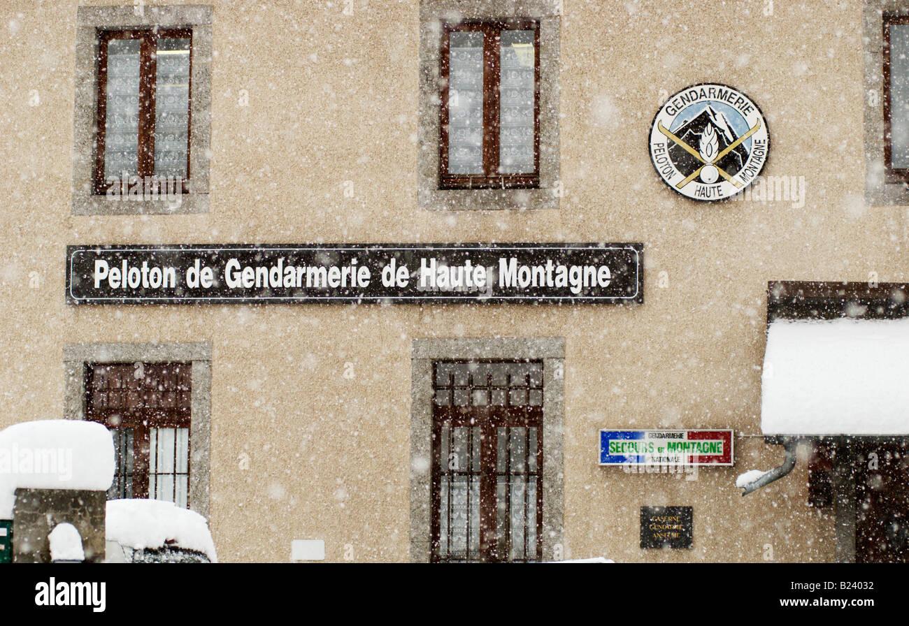 PGHM Peloton Gendarmerie Haute Montagne high mountain mountain rescue office in Chamonix-Mont Blanc, France - Stock Image