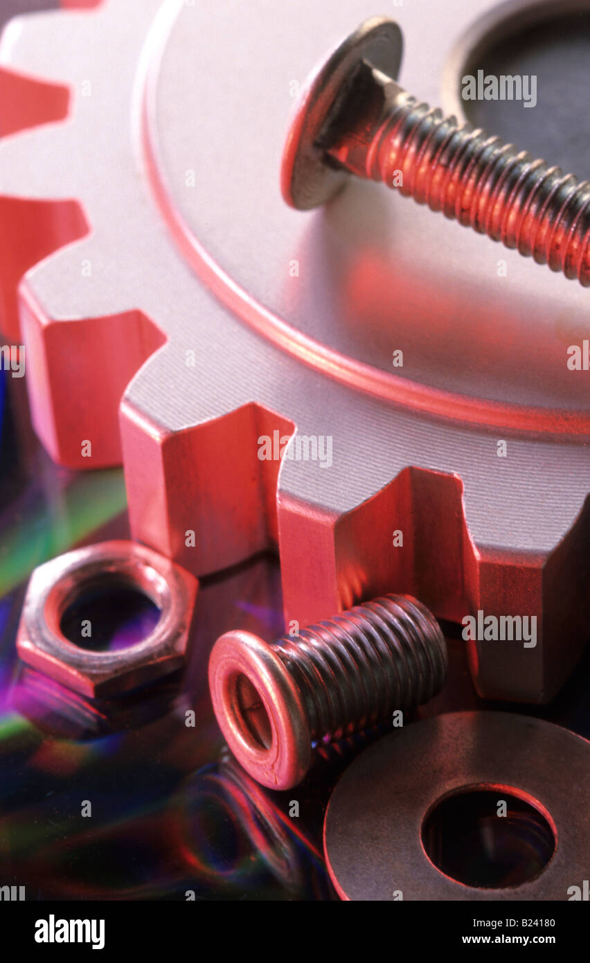 Nuts bolts gear conceptual industry still life Stock Photo