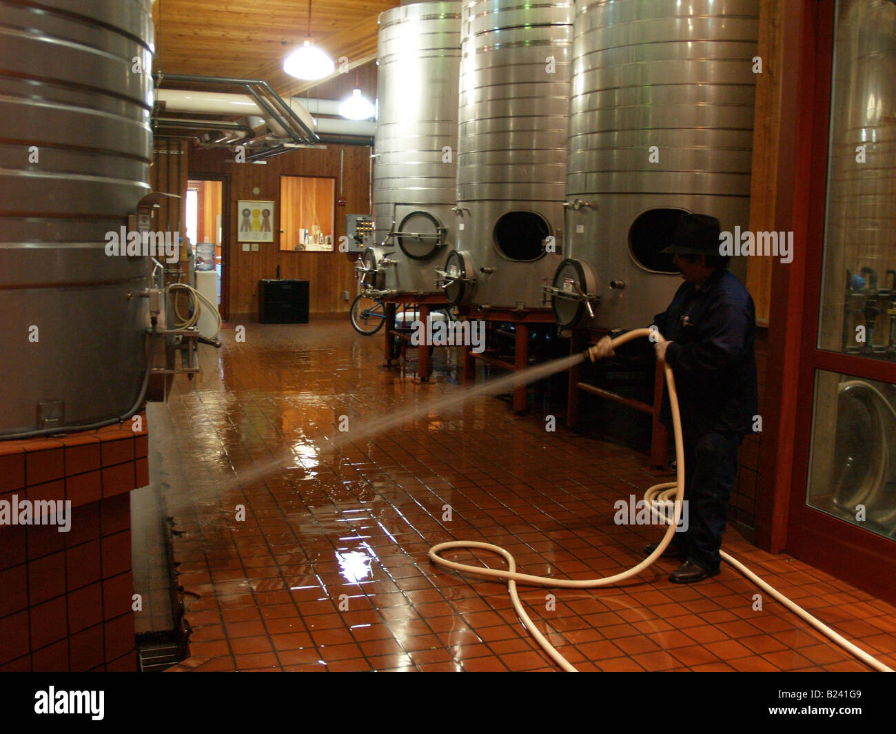 Worker cleaning fermentation room at Cakebread Cellars winery in Napa Valley California & Worker cleaning fermentation room at Cakebread Cellars winery in ...