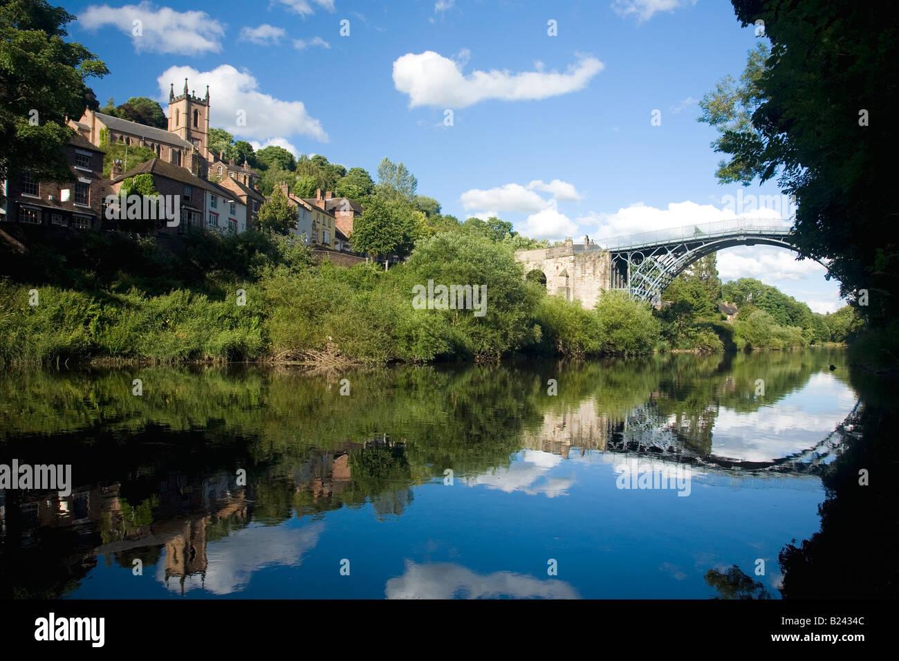 Ironbridge village world's first iron bridge spanning banks of River Severn in late evening summer light Ironbridge - Stock Image
