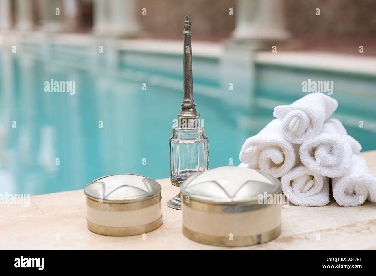 Objects by swimming pool Stock Photo