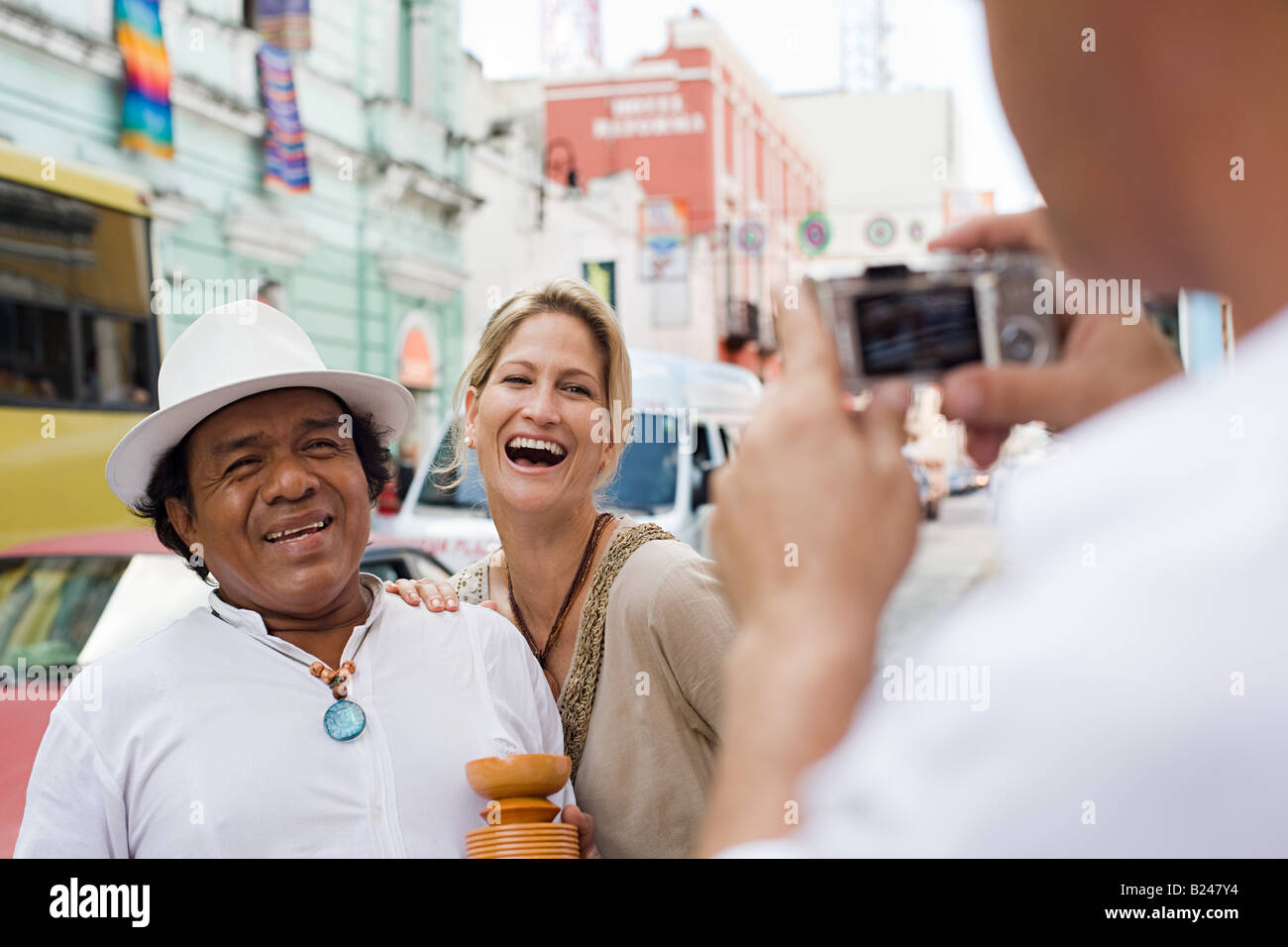 People being photographed - Stock Image