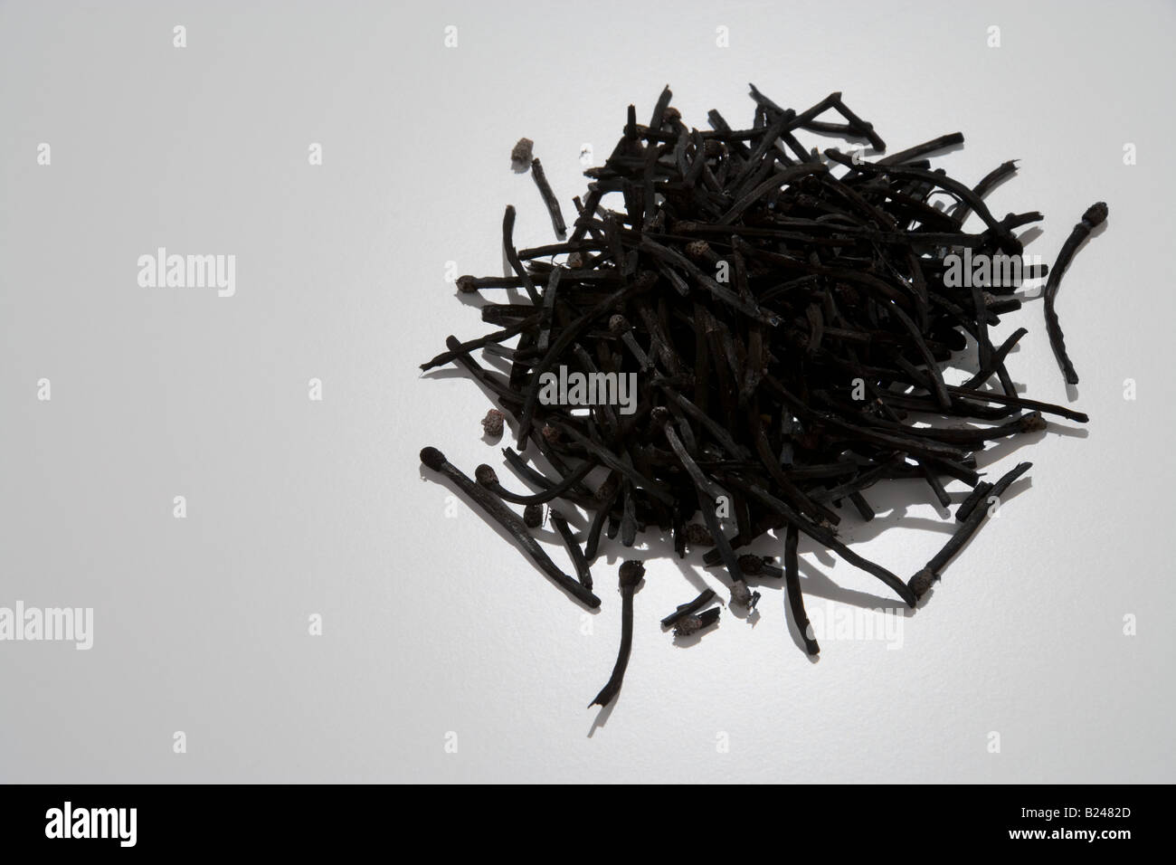 Stack of burnt matches - Stock Image