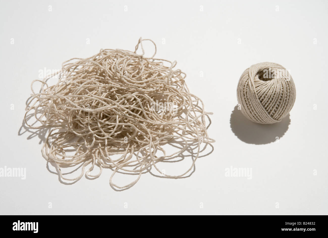Ball and mound of twine - Stock Image
