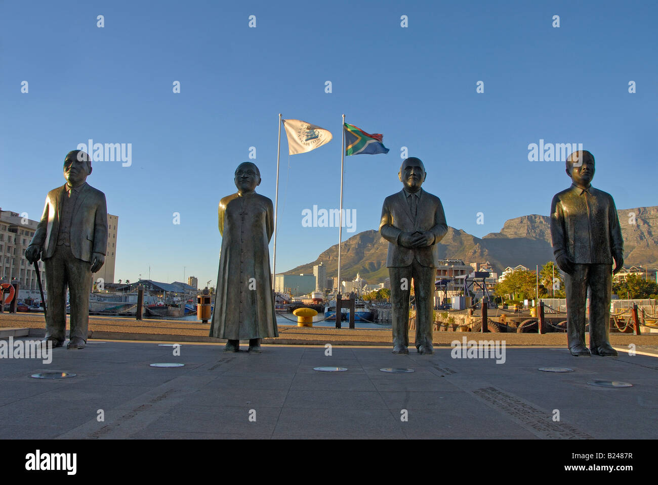 Statues of four political leaders that led South Africa to full democracy, V&A Waterfront, Cape Town - Stock Image
