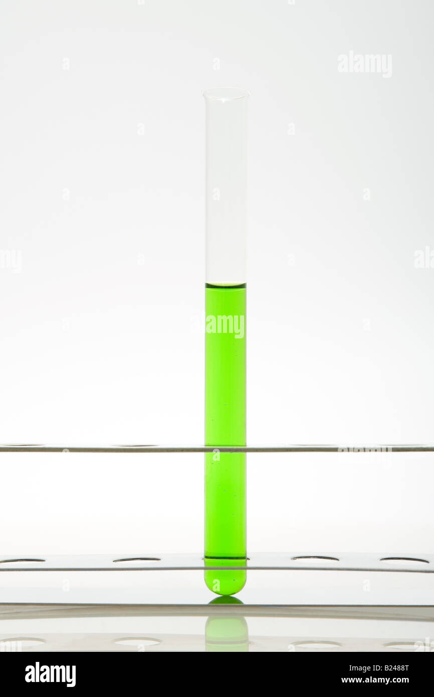 Green liquid in a test tube - Stock Image