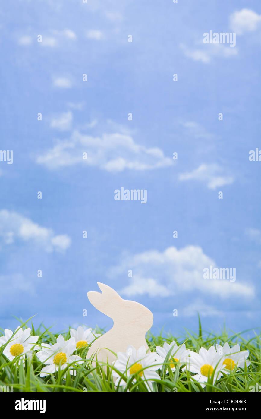 A white rabbit shape - Stock Image