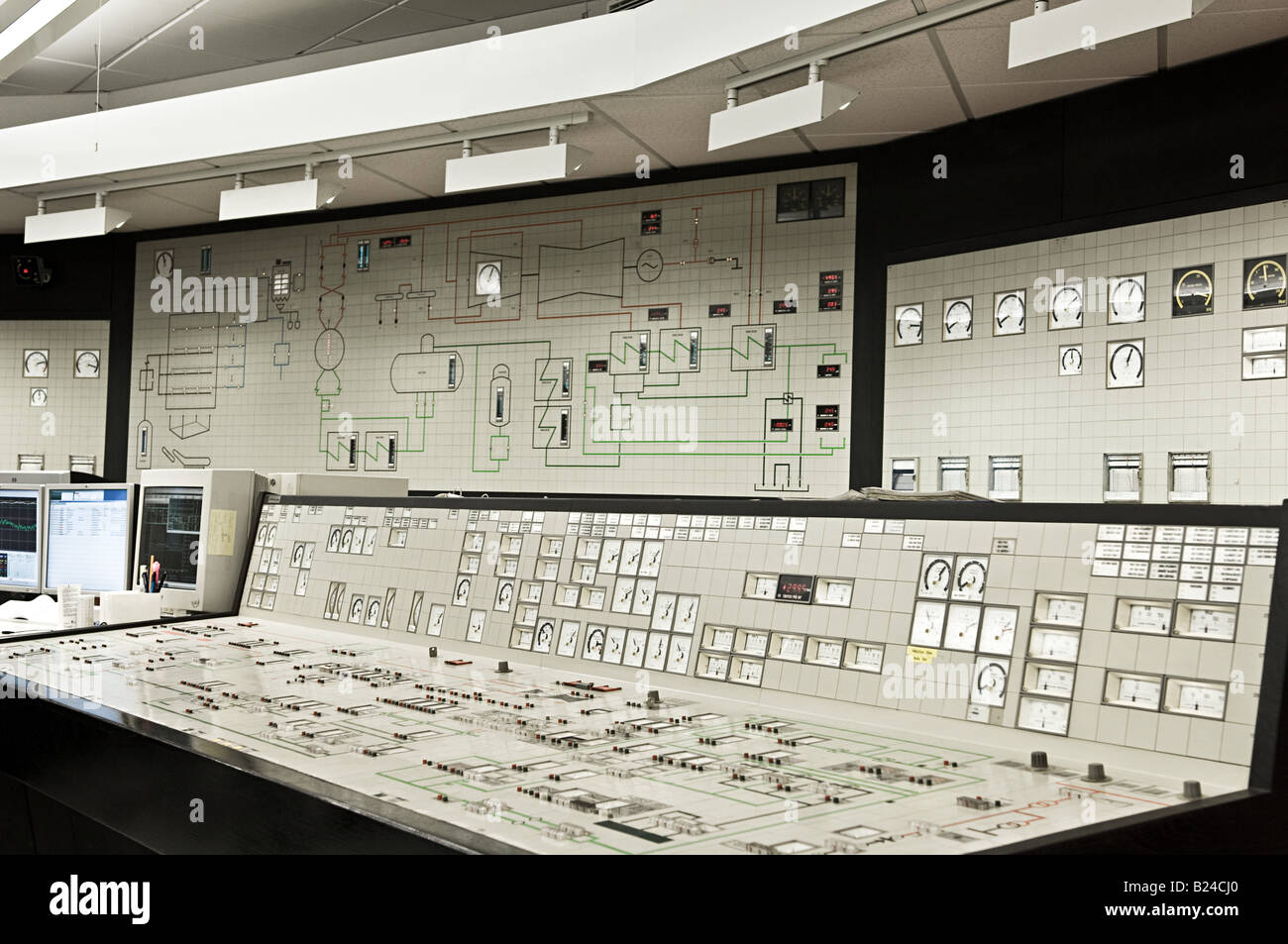 Control panel in power plant - Stock Image