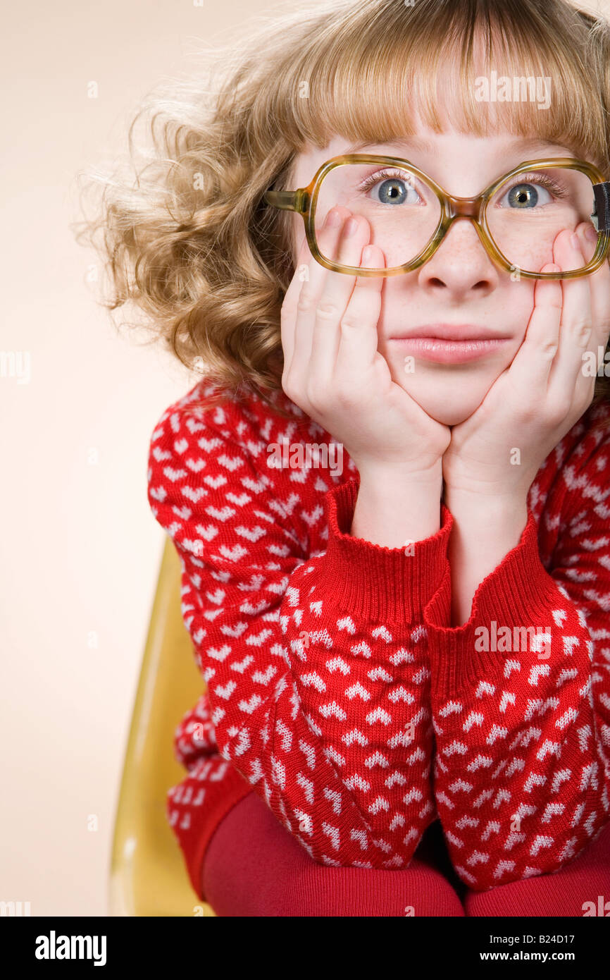 Portrait of a bored geeky girl Stock Photo