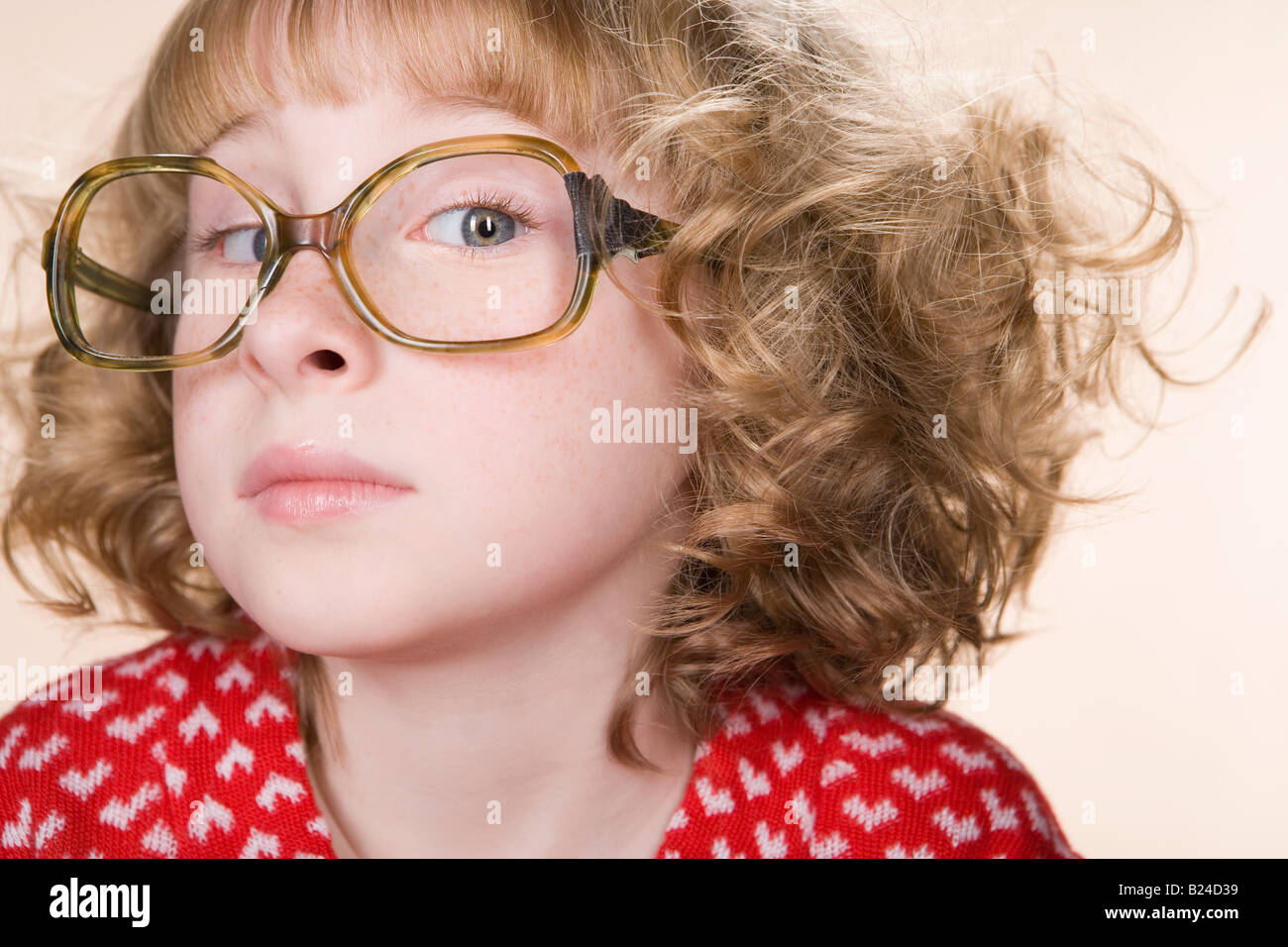 Portrait of a geeky girl - Stock Image