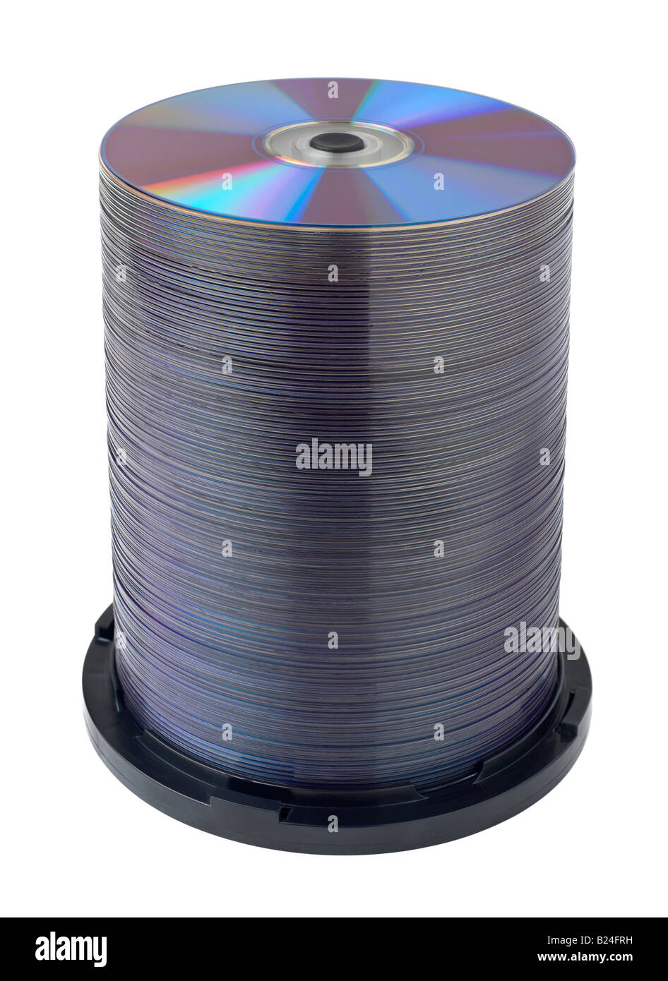 DVD compact disc stack over white background - Stock Image