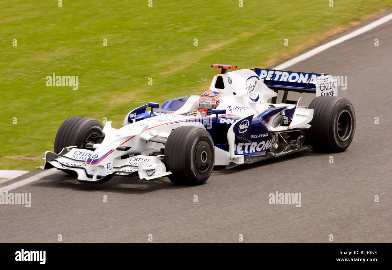 robert kubica driving a bmw sauber f1 car at silverstone
