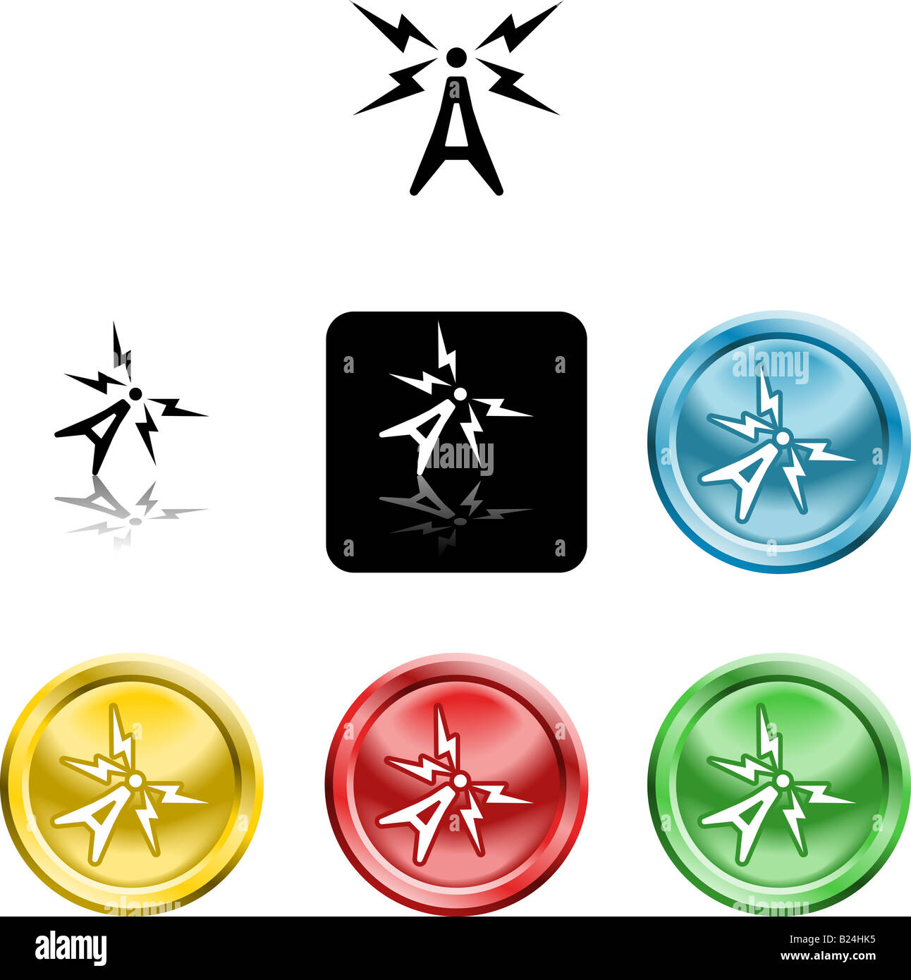 Several versions of an icon symbol of a stylised atenna aerial - Stock Image