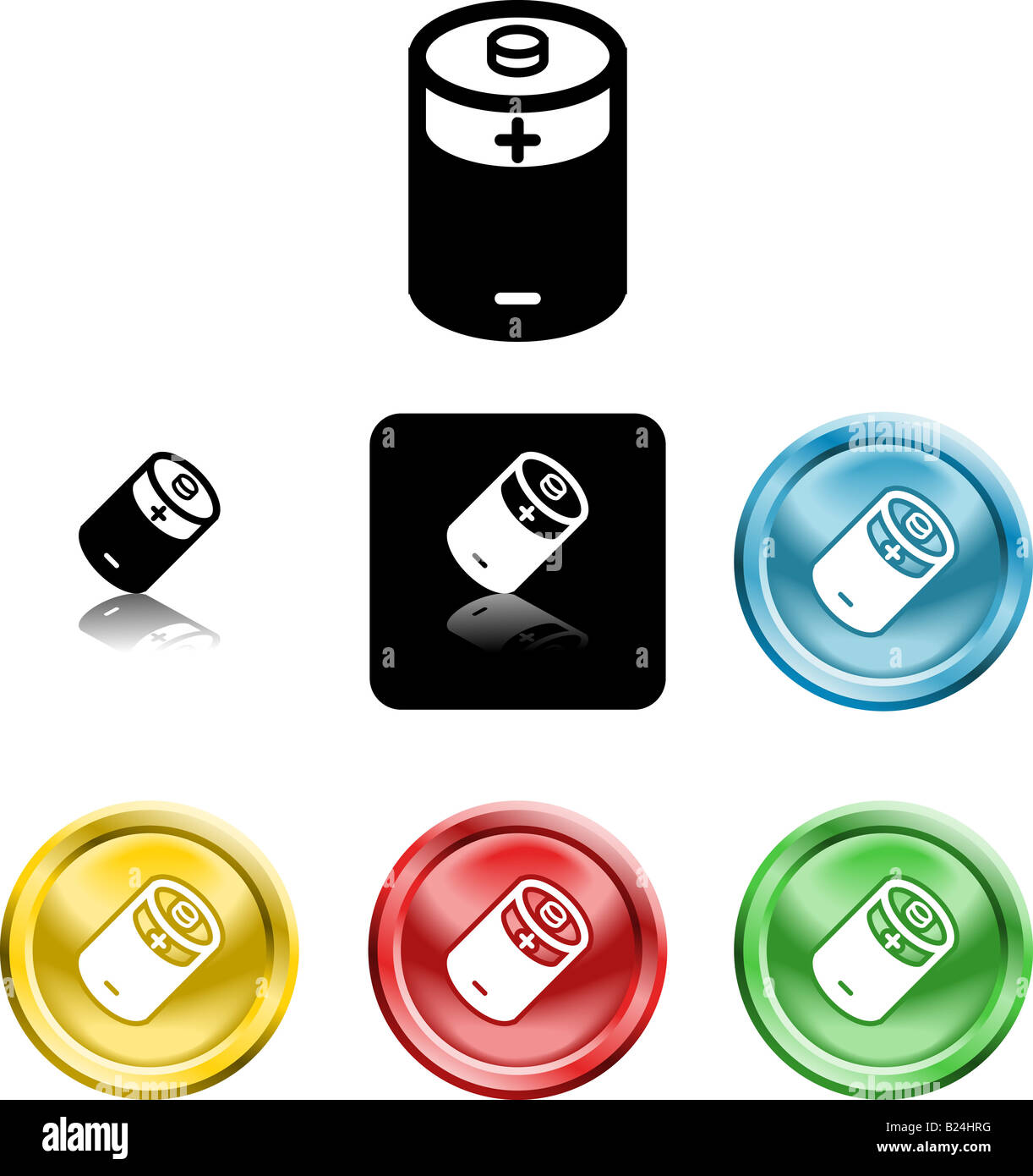 Several versions of an icon symbol of a stylised battery - Stock Image