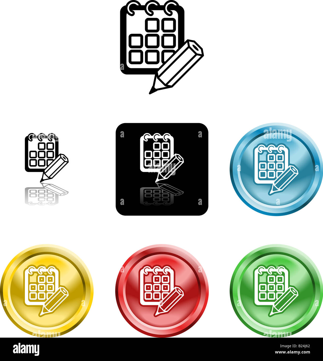 Several versions of an icon symbol of a stylised calendar or schedule and pencil - Stock Image