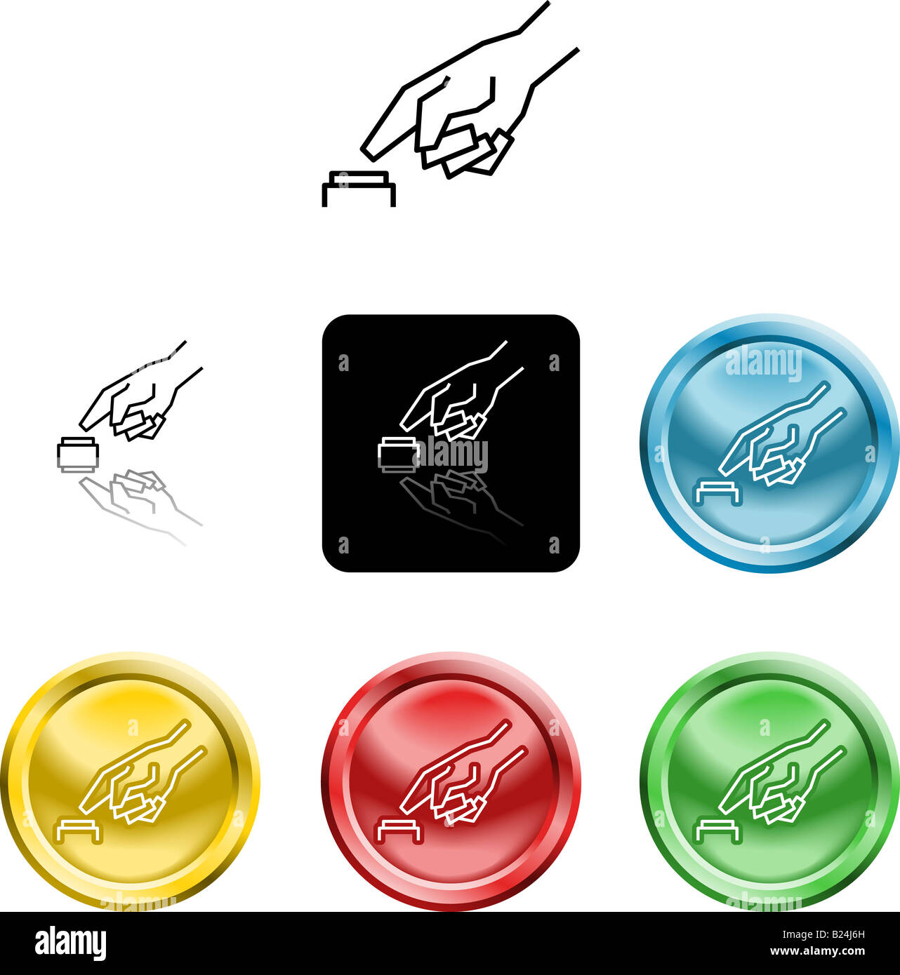 Several versions of an icon symbol of a stylised hand pressing a button - Stock Image