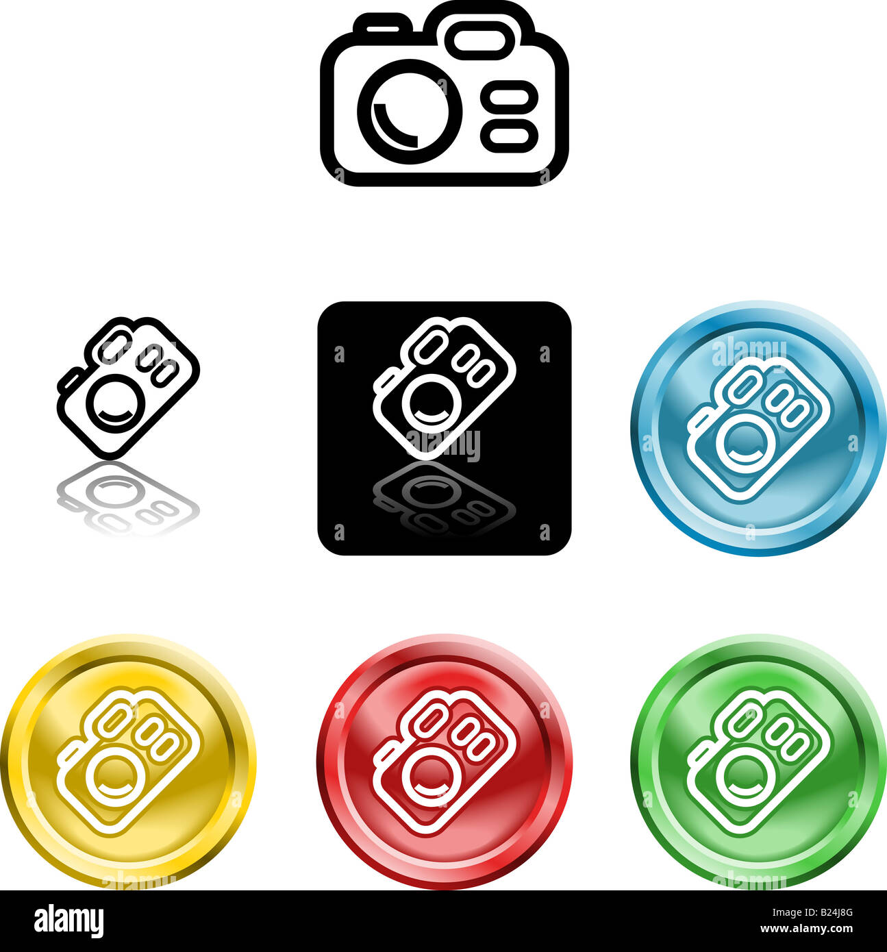 Several versions of an icon symbol of a stylised camera - Stock Image