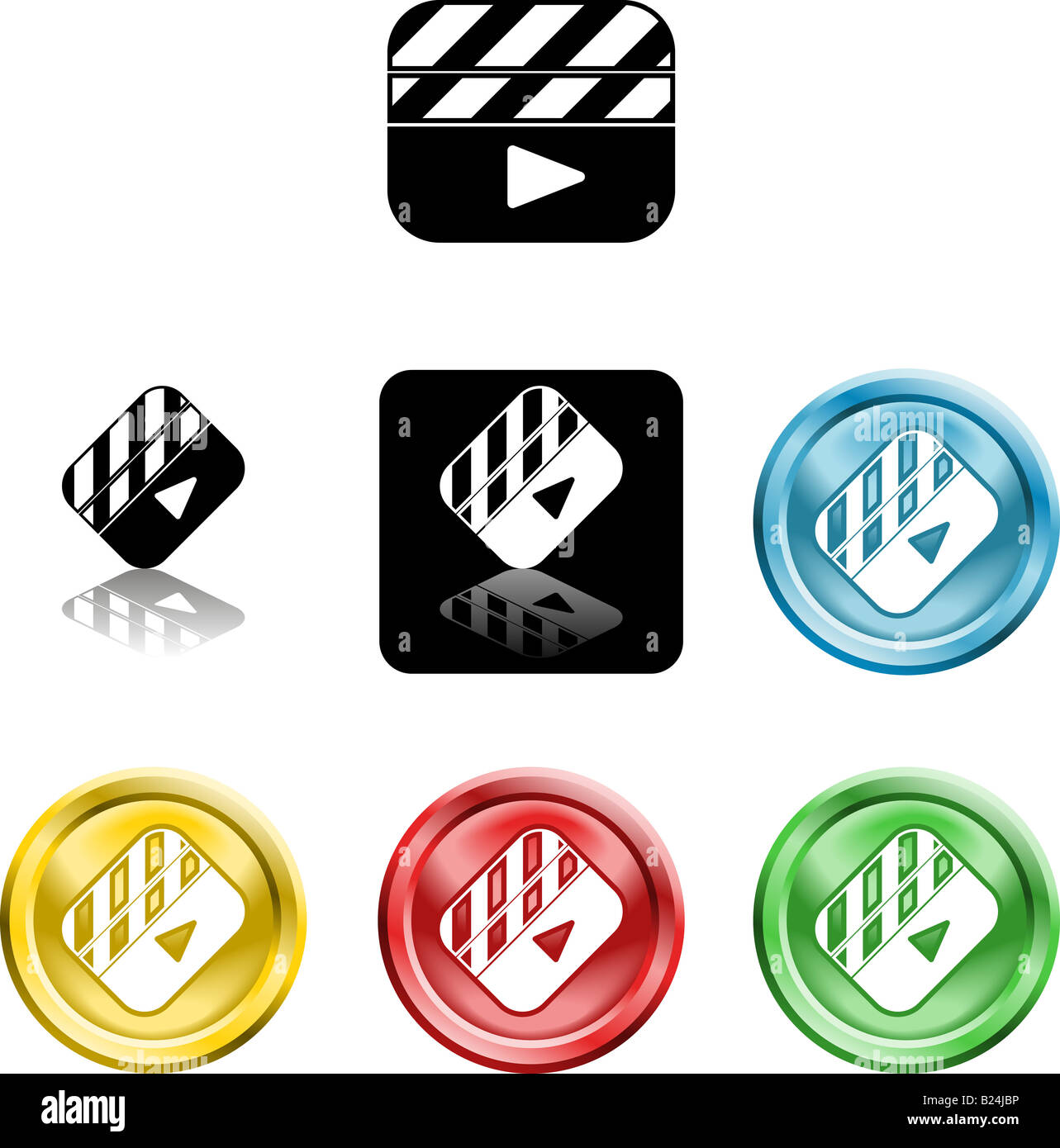 Several versions of an icon symbol of a stylised film clapper board - Stock Image
