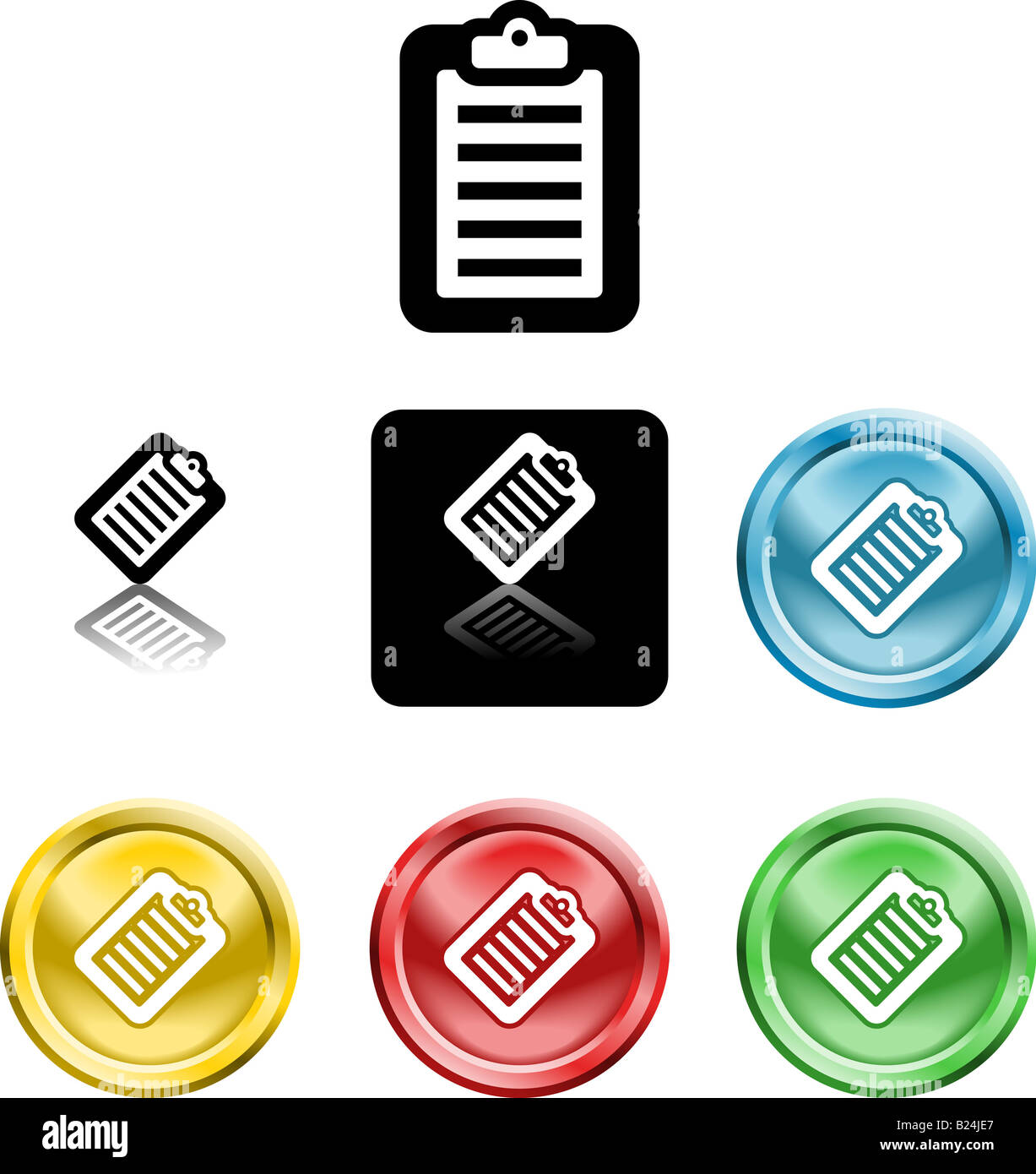 Several versions of an icon symbol of a stylised clipboard with document on it - Stock Image
