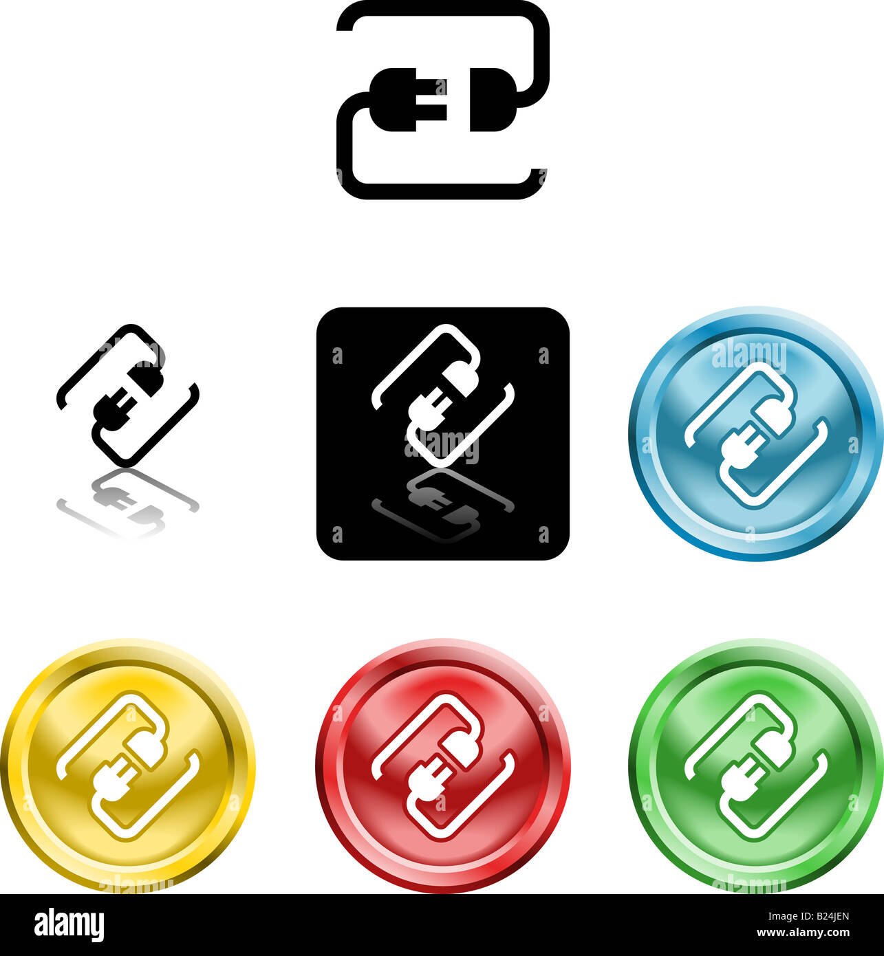 Several versions of an icon symbol of a stylised plug connecting - Stock Image
