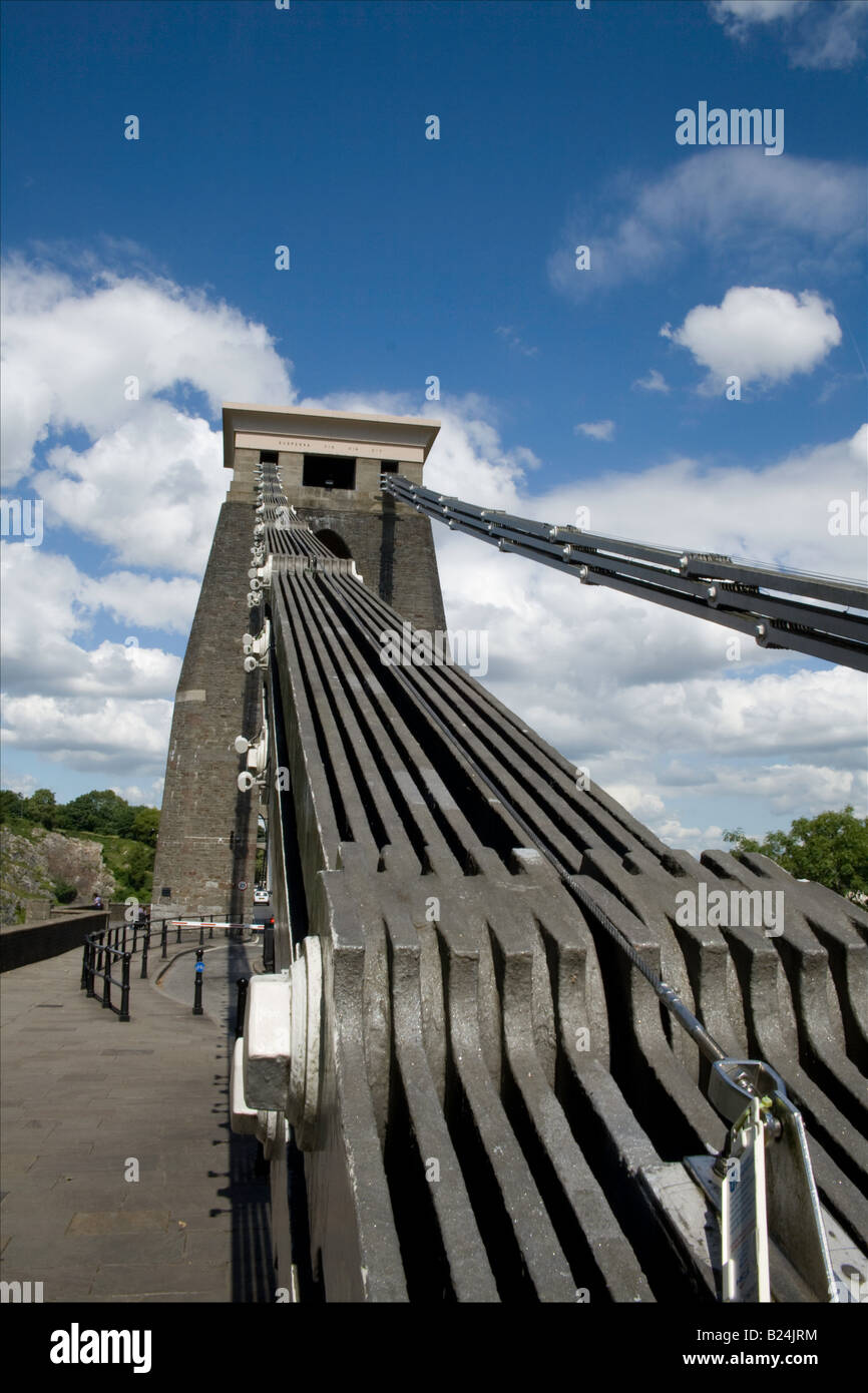 Clifton suspension bridge from west abutment showing detail of suspension links on a bright sunny day Stock Photo