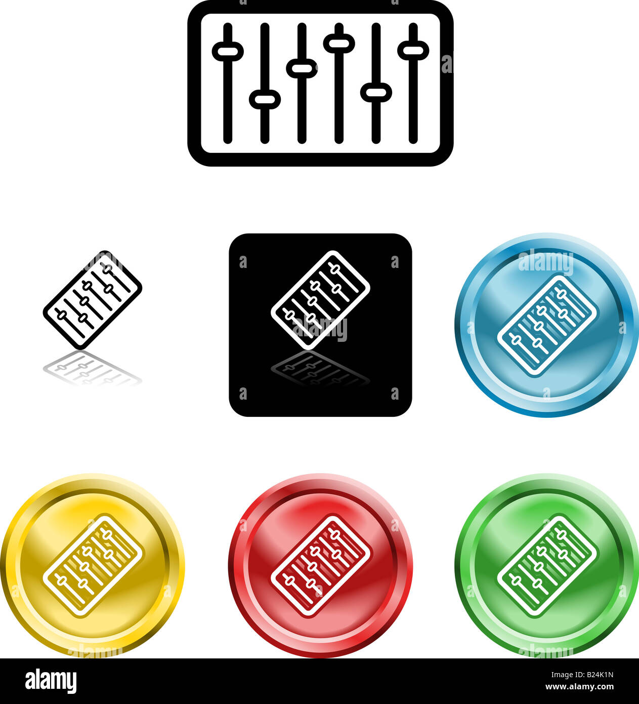 Several versions of an icon symbol of a stylised graphic or music mixer or equaliser - Stock Image