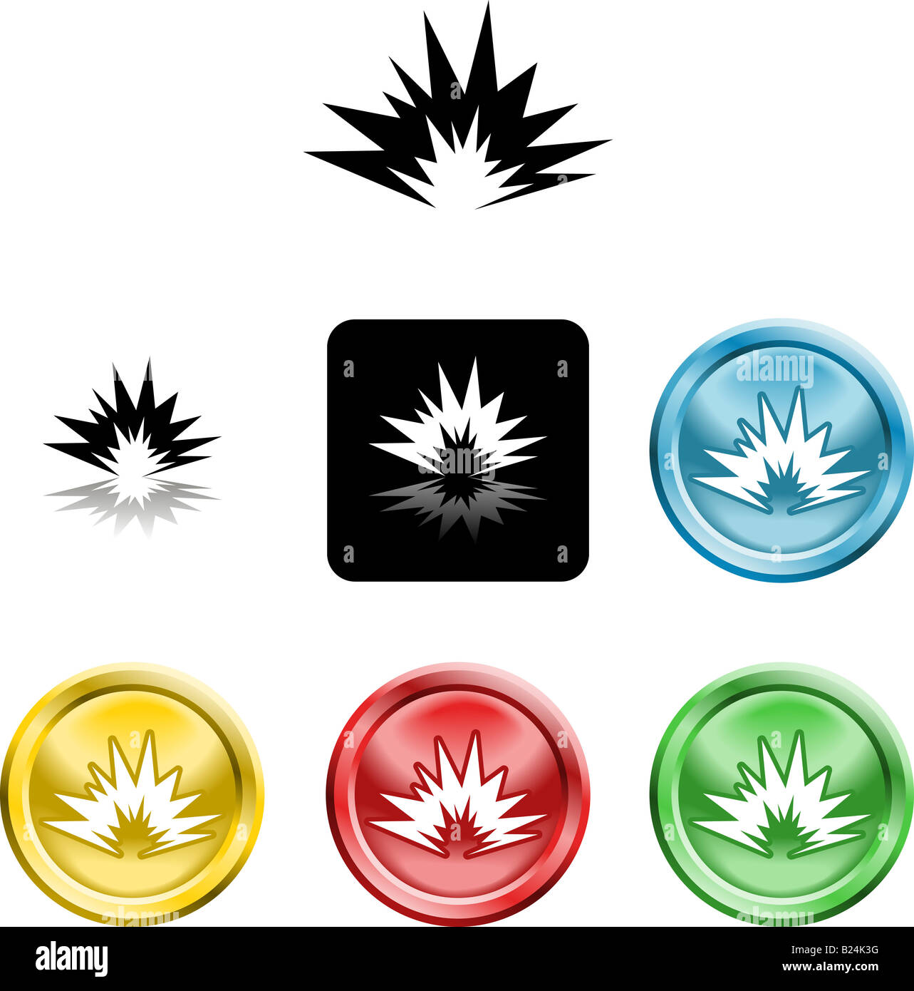 Several versions of an icon symbol of a stylised explosion - Stock Image