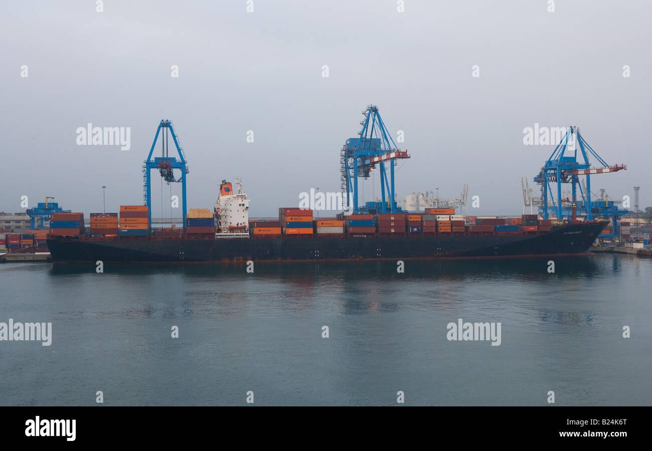 Liguria, Italy, Genoa, Commercial Port, Ship, Container Stock Photo