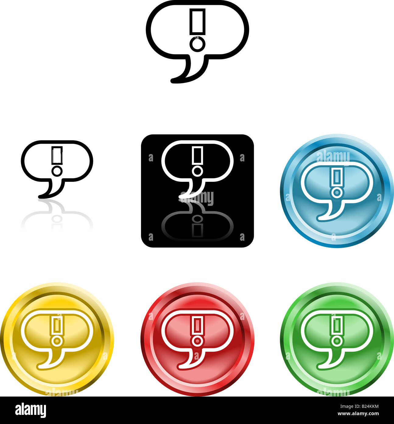 Several versions of an icon symbol of a stylised exclamtion mark in a speach bubble - Stock Image