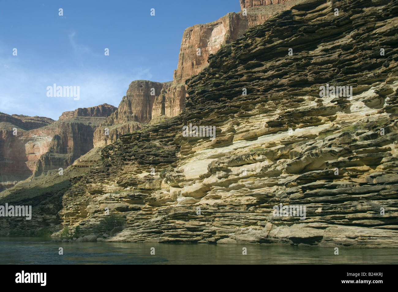 Sandstone limestone layers moenkopi tapeats kaibab along the Colorado River Grand Canyon National Park Arizona US - Stock Image