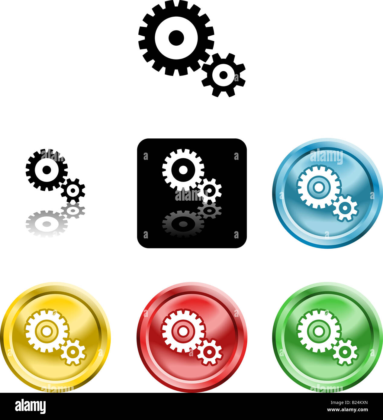 Several versions of an icon symbol of stylised cog gears - Stock Image