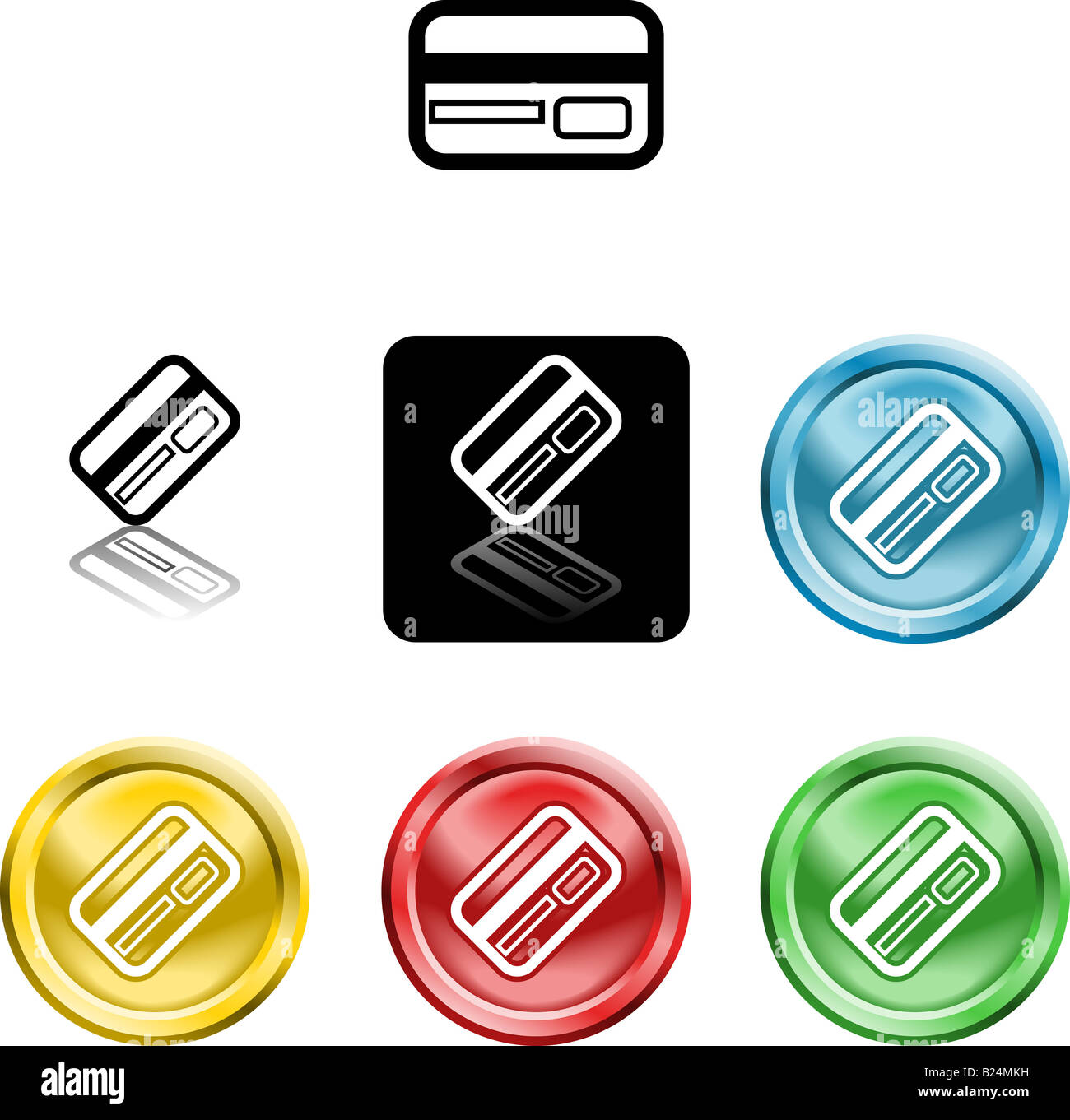 Several versions of an icon symbol of a stylised credit or debit card - Stock Image