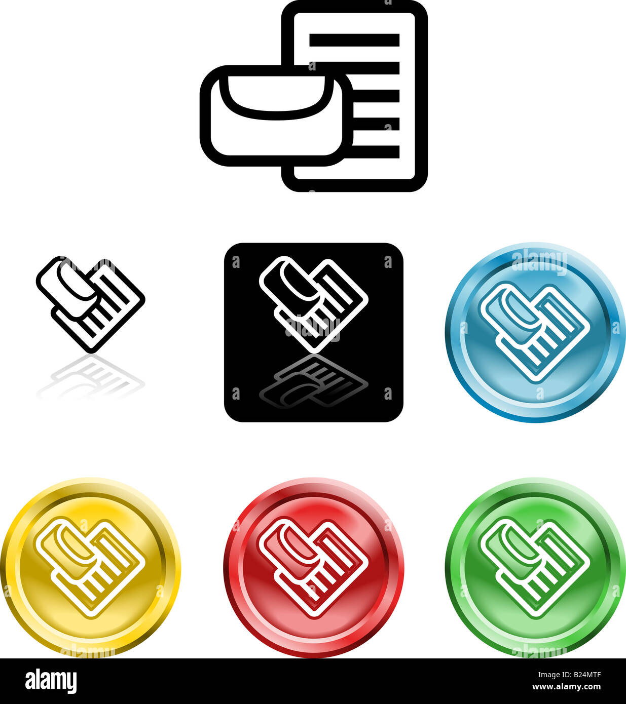 Several versions of an icon symbol of a stylised envelope and letter - Stock Image