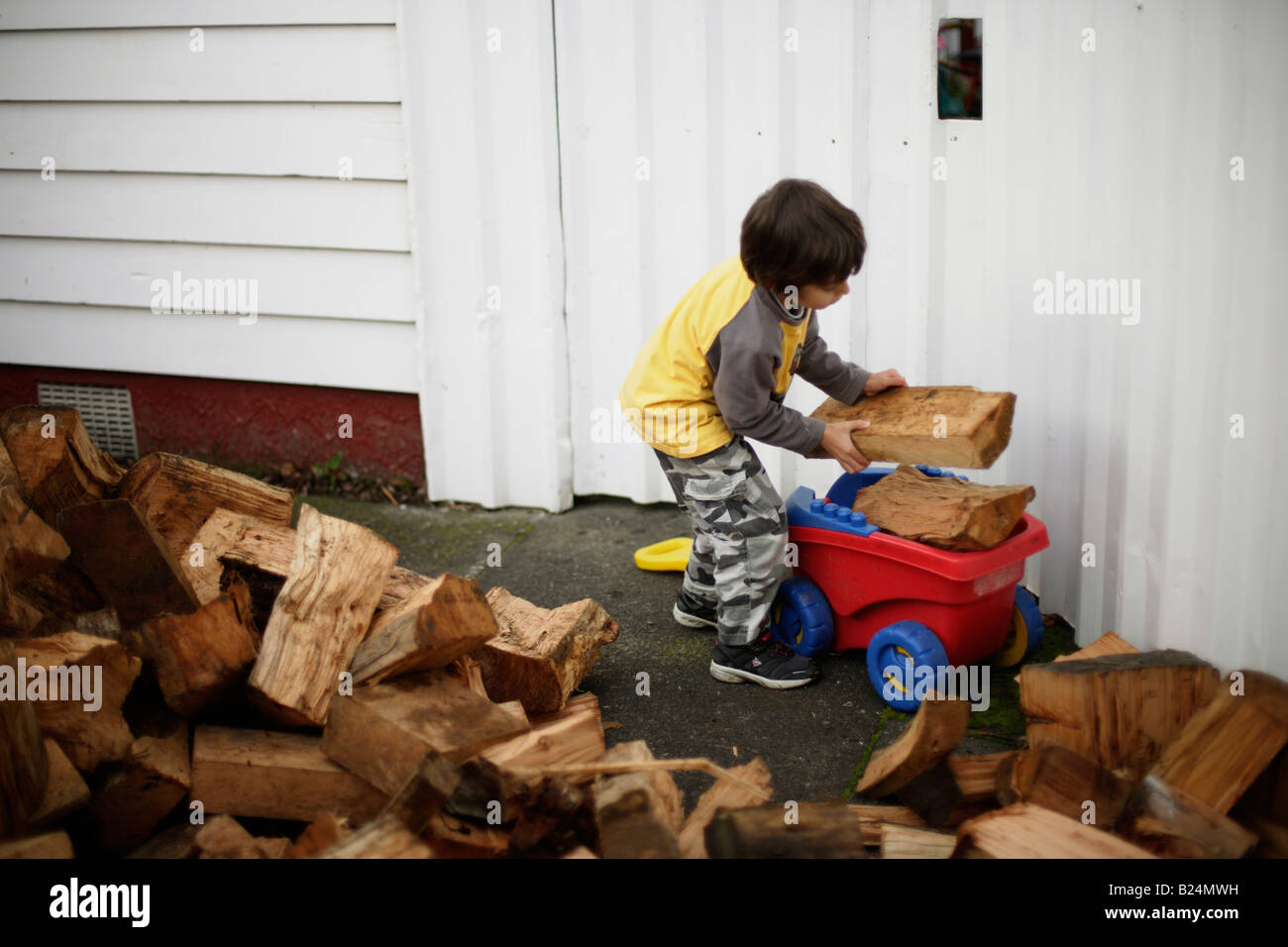 Boy aged six collects firewood in plastic toy trolley Wood is a zero carbon sustainable and renewable heating fuel - Stock Image