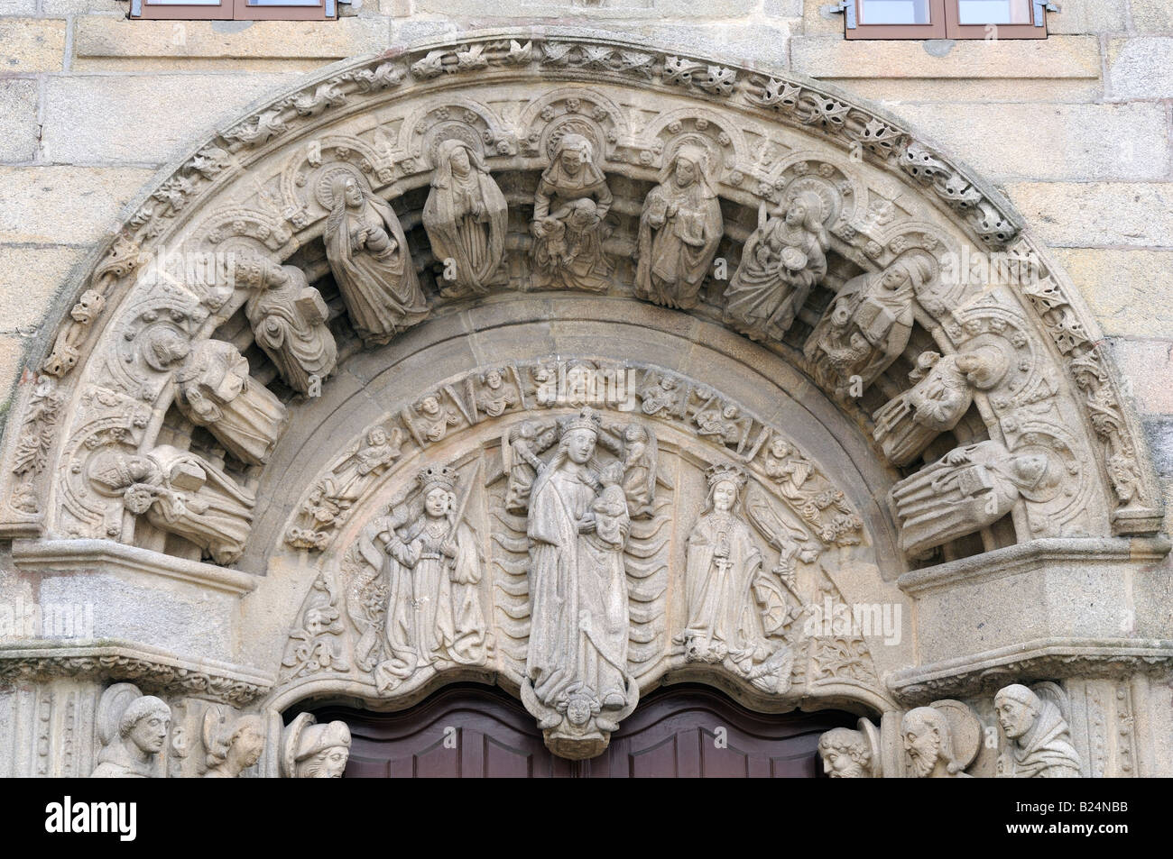 Portal of Colegio de San Xerome (17th century), Santiago de Compostela, Galicia, Spain Stock Photo